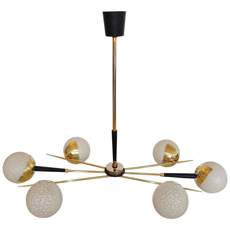 1950s Fan Sputnik Chandelier by Lunel with Textured Globes 1