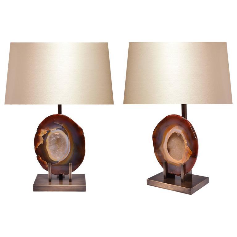 Pair of Rare Natural Agate Lamps