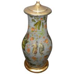 Continental Chinoiserie Decalcomania Lamp