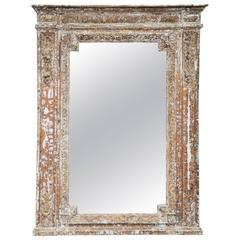 19th Century French Carved Wood Mirror with Stripped Paint Finish