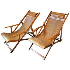 Fine Unusual Pair of Mid-Century Bamboo Adjustable Deck Chairs with Armrests