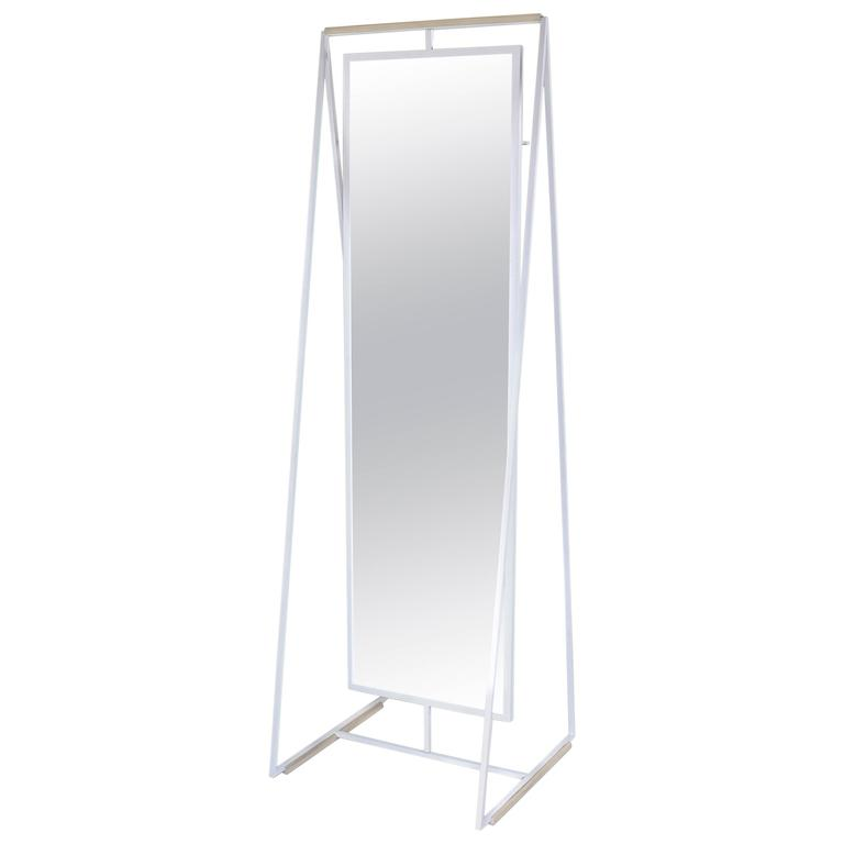 Ellen Standing and Rotating Mirror with Rear Garment Rack 1