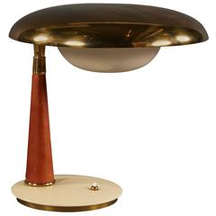 Striking Angelo Lelii Leather and Brass Table Lamp for Arredoluce