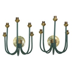 French Large-Scale Five Branch Wall Sconces in Brass and Green Painted Iron