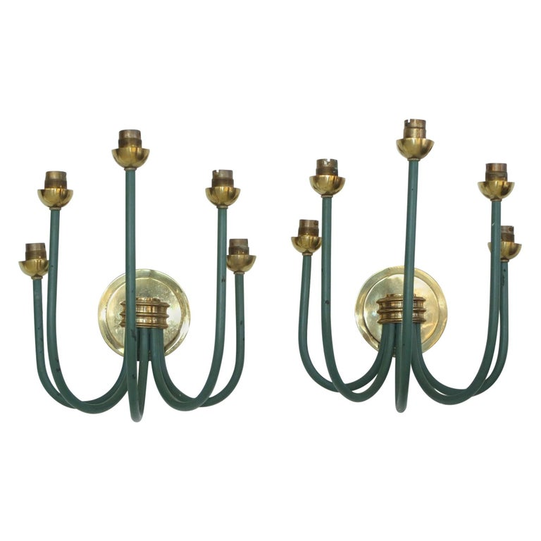 French Large-Scale Five Branch Wall Sconces in Brass and Green Painted Iron For Sale