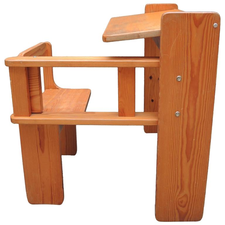 Mid-Century Modern Folding Wood Childs Desk with Integrated Chair
