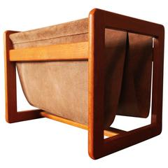 Aksel Kjersgaard Magazine Rack Teak and Suede Leather