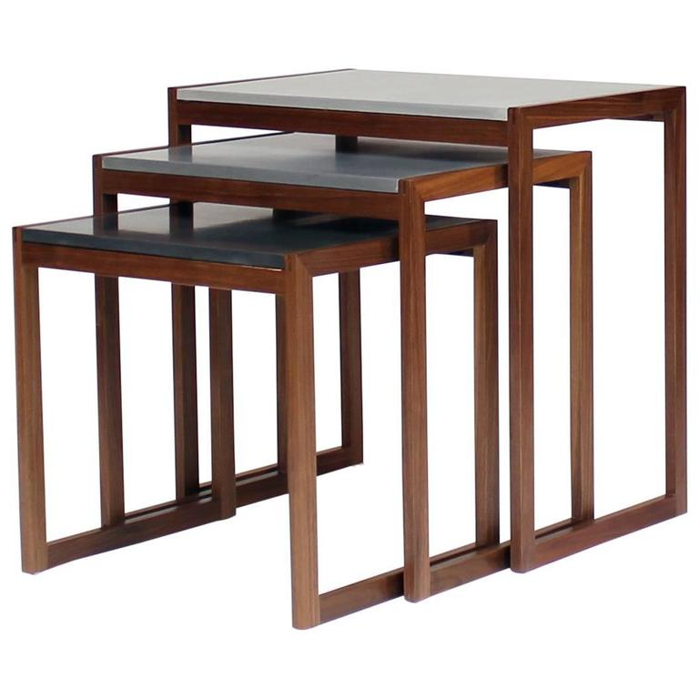 Burled wood and green glass nesting tables at 1stdibs ellen walnut and concrete nesting side tables watchthetrailerfo