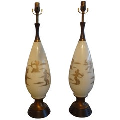 Pair of Mid-Century White Glass Lamps with Abstract Gilt Decoration