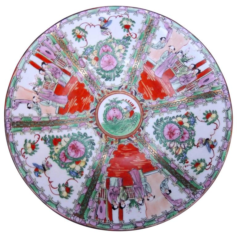 Large Chinese Rose Medallion Serving Bowl