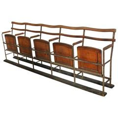 antique theater fiveseat folding bench