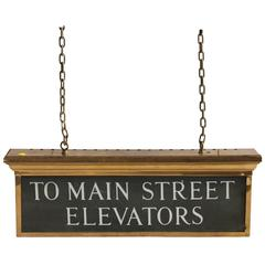 "Antique Double Sided Light Up Brass Sign ""to Main Street Elevators"""