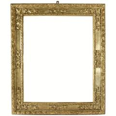 Beautiful Italian Carved Giltwood Frame Mounted as Mirror, 17th Century