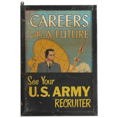 Rare 1950s Double Sided U.S. Army Recruiter Sign