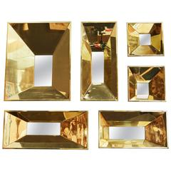 Stunning Set of Six Canted Framed Mirrors with Highly Polished Brass