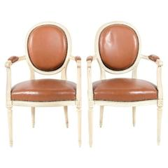 Matched Pair of Painted and Leather Louis XVI Style Armchairs, circa 1950