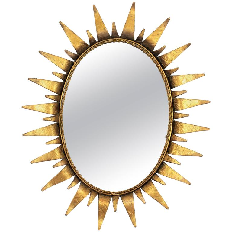 Spanish 1950s Oval Wrought Gilt Iron Sunburst Mirror