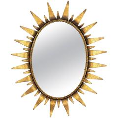 Mid-Century Modern Wrought Gilt Iron  Oval Sunburst Mirror, Spain 1950s