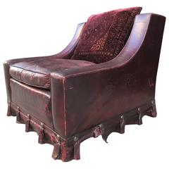 French Vintage Leather Lounge Chair