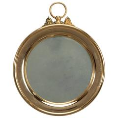 Small French Polished Brass Stop Watch Shape Mirror