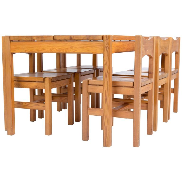 TAPIOVAARA  Hongisto dining set with eight chairs for Laukaan Puu Oy 1