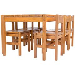 TAPIOVAARA  Hongisto dining set with eight chairs for Laukaan Puu Oy
