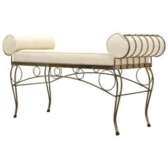 New Upholstery Mid Century Modern Decorative Gold Gilt Wire Bench Royere Style