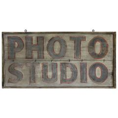 "Large Antique Hand Painted Sign ""Photo Studio"""
