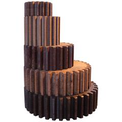Leaning Tower of Vintage Industrial V2 Wood Gear Molds Candle Holder, Stand