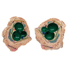 Unique Handmade Tabletop Geode Sculpture in Emerald Green and Blush Pink