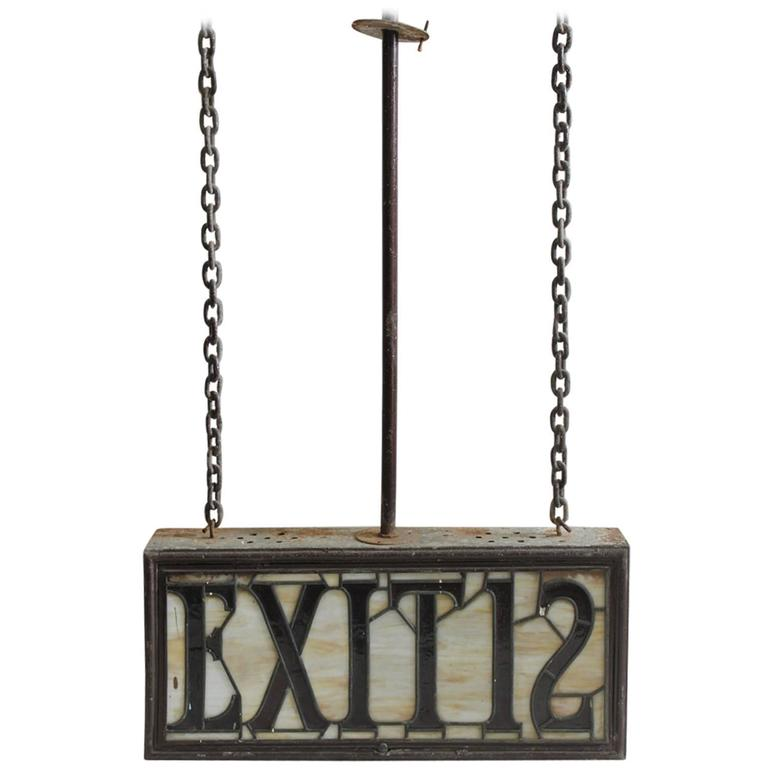 Large Antique Light Up Stained Glass EXIT 12 Sign