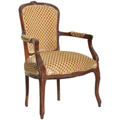 Louis XV Fauteuil in Cut Velvet