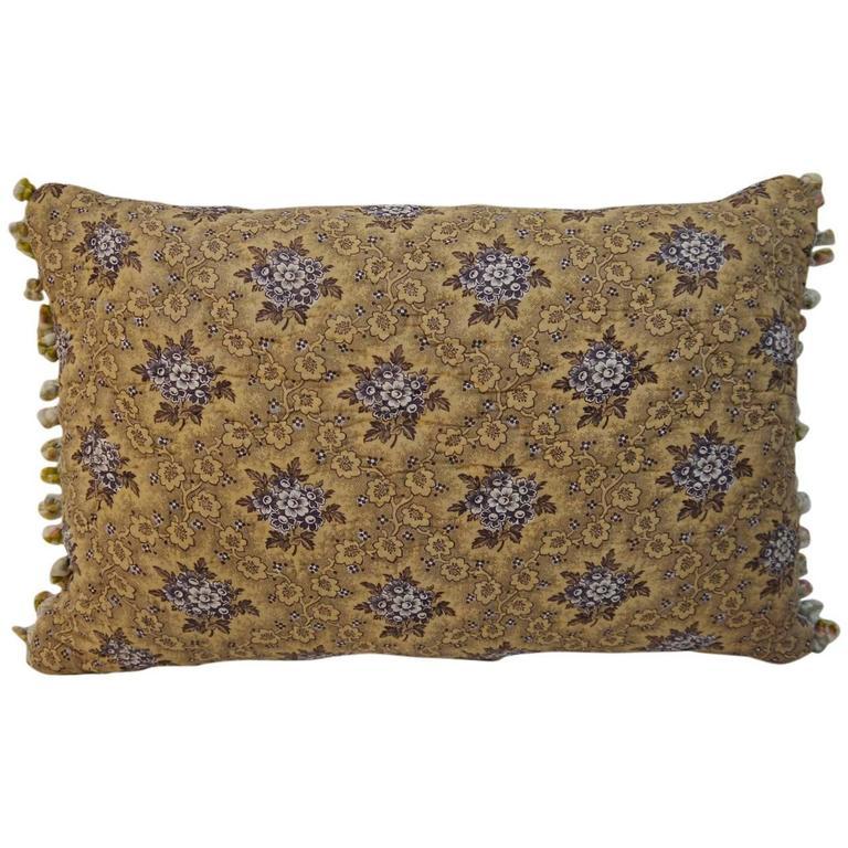 19th Century French Antique Purple Floral Cotton Quilted Bobble Trim Pillow