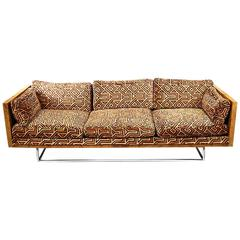 Milo Baughman Burl Wood and Chrome Case Sofa with Original Larsen Upholstery