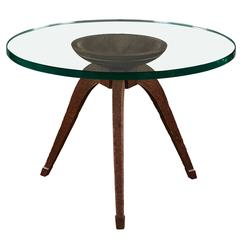 Rare and Spectacular Osvaldo Borsani Chiselled and Hand-Craved Wood Low Table