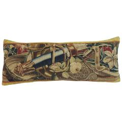 18th Century French Antique Verdure Tapestry Long Bolster Pillow