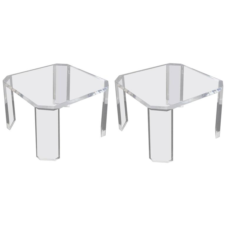 """Pair of Acrylic """"L'Ami"""" Side Tables by Charles Hollis Jones"""