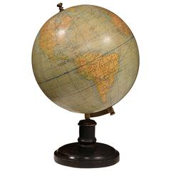 Turn of the Century French Globe on Carved Walnut Base Signed G. Thomas Paris