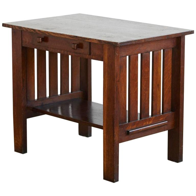 Arts and crafts mission style oak library table for sale for Arts and crafts style table