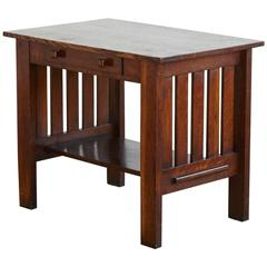Arts & Crafts Mission Style Oak Library Table from the Estate of José Ferrer