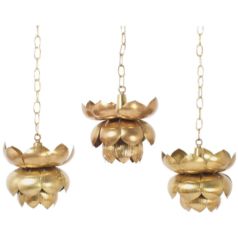 Mid-Century Brass Lotus Pendants