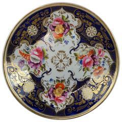 19th Century English Porcelain Cobalt Blue Floral Dish Regency Era, circa 1820