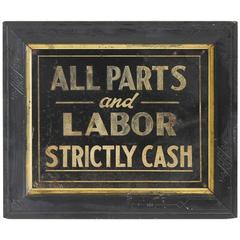 "1900s Hand-Painted Biker's Shop Tin Sign ""All Parts & Labor Strictly Cash"""