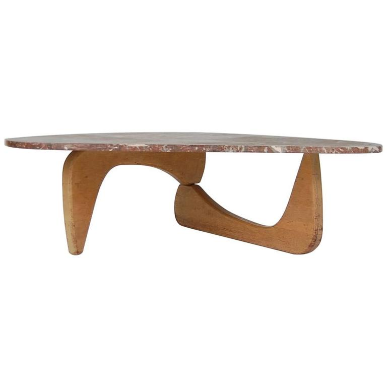 Isamu Noguchi Style Coffee Table With Rojo Alicante Marble Top At 1stdibs