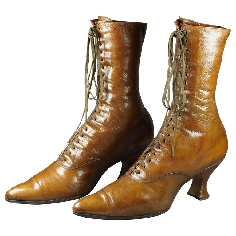 Antique Women S Victorian High Top Leather Boots Caramel