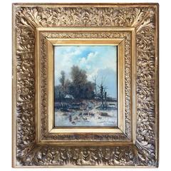 """Winter Farmscape"" by Belgian Artist Franz Van Severdonck"