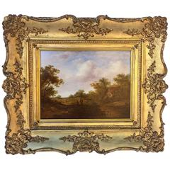 English Landscape Oil on Board, Attributed to Richard Hilder, circa 1813-1852