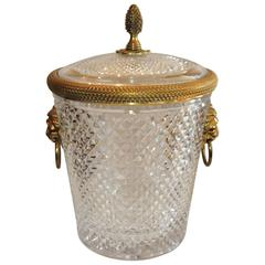 Elegant Baccarat Lion Handle Dore Bronze Cut Crystal Ice Bucket with Lid