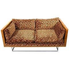 Milo Baughman Burl Wood and Chrome Case Love Seat with Larsen Upholstery