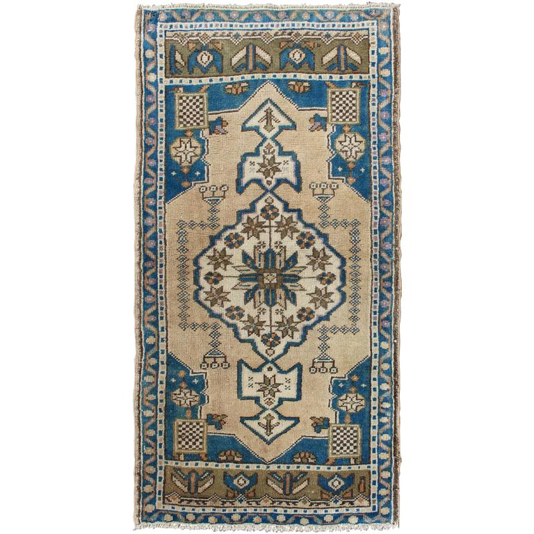 Turkish Ground Rug: Small Turkish Oushak Carpet With Dark Blue Cornices And